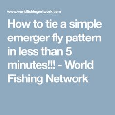 How to tie a simple emerger fly pattern in less than 5 minutes!!! - World Fishing Network