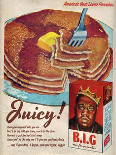 If you didn't know, now you know. that nothing beats Biggie's juicy pancakes. - If you didn't know, now you know… that nothing beats Biggie's juicy pancakes. Vintage Advertisements, Vintage Ads, Vintage Posters, Vintage Style, Vintage Fashion, Ad Libitum, Good N Plenty, Music Hits, Vintage Photographs