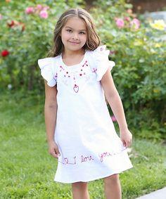 White & Red Amanda Heart Dress - Infant Toddler & Girls