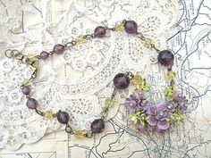 lilac flower necklace assemblage flower pendant by lilyofthevally