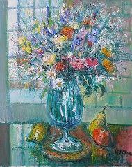 "Yolande Ardissone  ""Bouquet devant la Fenetre""  O/C    37x29  $4,500.  Left Bank Art Gallery 800-336-9469"