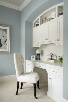 Maybe a desk area at the end of the dining room.       Benjamin Moore Beach Glass paint. LOVE this color with white wood!