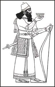 The clothing of Assyrian King Assur-nasir-pal who probably ruled 883 B.C. to 858 B.C.