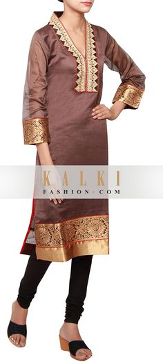Buy Online from the link below. We ship worldwide (Free Shipping over US$100) http://www.kalkifashion.com/brown-a-line-kurti-in-silk-embellished-in-zari-and-brocade-only-on-kalki.html
