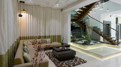 Zeba Design Centre putting an elegant contemporary look together, with coordinated curtains, upholstery and cushions. Visit Us:- http://www.zebaworld.com/ #InteriorDesign #ZebaWorld
