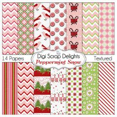 Christmas Papers Peppermint Snow Christmas Scrapbooking Papers  #Red #Green #pink by DigiScrapDelights,