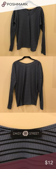 Daisy Street Long Sleeve Striped Top Blue and black striped long sleeve loose fitted top from Daisy Street (purchased from ASOS). Size Small. *Worn once. ASOS Tops Tees - Long Sleeve