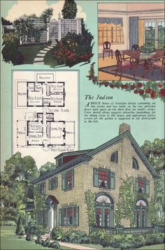 """1925 American Builder Magazine - House Plans - Colonial Revival - Georgian - William A. Radford """"A brick house of Georgian design containing six fine rooms and two baths on the two principal floors with space on the third floor for maid's rooms. The color sketch ... suggests attractive furnishings for the dining room of this house, and appropriate lattice screen for the garden is suggested in the photograph to the left."""""""