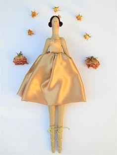 Fabric doll ballerina doll princess doll cloth doll in golden