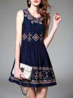 Embroidered Sleevless Mini Dress