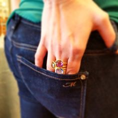 """We received a new shipment of #bettycarre rings. These rings can be worn alone, or as #stackablerings"""