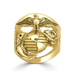 Custom Gold Marine Corps Rings with your Rank on the side and Years of Service or USMC - Proudly handcrafted in the USA by a USMC Veteran owned custom jewelry business. High Definition Eagle Globe and Anchor Marine Corps Ring in Gold Marine Corps Rings, Us Marine Corps, Marines Logo, Marine Mom, Simple Jewelry, Usmc, Custom Jewelry, Ring Designs, 18k Gold