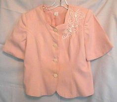 W.L.B.W. Pink Jacket Size 8P Sweetheart Neck with Embroidery Trim Peal Buttons