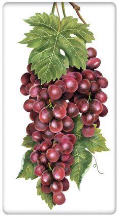Vineyard Grapes 100% Cotton Flour Sack Dish Towel Tea Towel