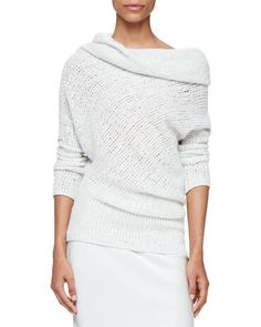 Doodle Cowl-Neck Long-Sleeve Sweater
