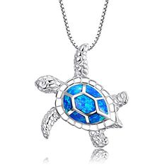 Victoria Jewelry Health and Longevity 925 Sterling Silver Created Blue Opal Sea Turtle Pendant Necklace 18 Birthstone Jewelry for WomenBlue ** Check out this great product.