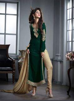 Exquisite Falk & Velvet Designer Green Salwar Kameez - shopneez.com