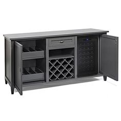 Firenze Wine and Spirits Credenza with 28 Bottle Touchscreen Wine Refrigerator (Antique Gray) - Wine Enthusiast Dining Room Bar, Dining Room Design, Interior Design Living Room, Wine Refrigerator, Wine Fridge, Wine Credenza, Wine Buffet, Kitchen Bar Design, Sliding Pocket Doors