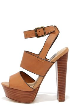 Steve Madden Dezzzy Tan Leather Platform High Heels