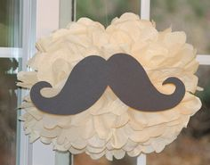 Mustache pom pom kit moustache  baby shower first birthday party decoration via Etsy