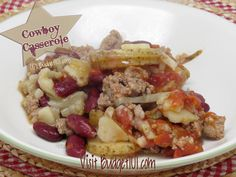 Crockpot Cowboy Casserole would use pork n' beans and corn instead of tomatoes/kidney beans, but good idea!