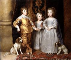 Sir Anthony van Dyck, Studio of 1599 - 1641 - - - Portrait of the eldest children Charles I Anthony Van Dyck, Sir Anthony, Roi Charles, Prince Charles, Charles James, Charles Ii Of England, Louis Xii, Renaissance, Cavalier King Charles Spaniel
