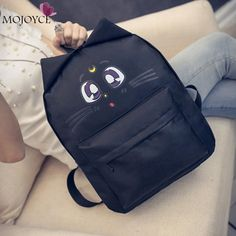 21.86$  Buy now - http://vimqx.justgood.pw/vig/item.php?t=jvesvbe3958 - Sailor Moon Women Backpack Cute Cat Ear Canvas Backpack School Bags for Teenage 21.86$