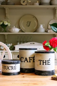 DIY French Canisters or any other colors can be done for Italian, etc