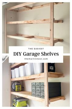 How to Build Easy DIY Storage Shelves - themartinnest.com #garagestorage #diyshelving #diygarageshelves #diystorage #homeorganizatin #garageorganization #garagestorage Cool Woodworking Projects, Diy Furniture Projects, Diy Wood Projects, Repurposed Furniture, Diy Storage Shelves, Wood Shelves, Shelving, Old Cabinets, Diy Cleaning Products