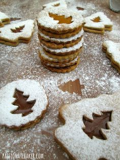 "Christmas Linzer Cookies ~ via this blog, ""Passionate Baker""."