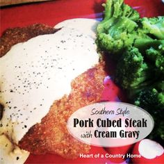 I'm adding this recipe to my low carb comfort foods file! Totally filling and very satisfying, this meal has it all. It's fried and topped with gravy. I felt like I was eating off plan! Fried Cube Steaks, Chicken Fried Steak, Fried Pork, Pork Steaks, Southern Cooking Recipes, Cube Steak Recipes, Cream Gravy, Low Carb Meats, Almond Recipes