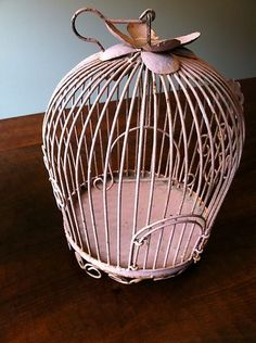 Vintage Rod Iron Shabby Chic Rustic Pink Birdcage   eBay