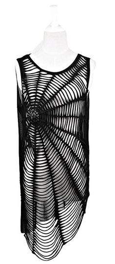 Blooms Punk Women Spiderweb Hole Sleeveless T-Shirt Vest Top Material: 95% Cotton, 5% Spandex. Please Check My Description Below Size Table Before Purchase It. One Size: Bust: 94cm / Length: 78cm / Shoulder: 33cm Stretchy , Hand Wash In Cold Water.