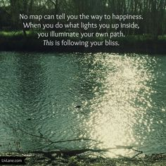 No map can tell you the way to happiness. When you do what lights you up inside, you illuminate your own path. THIS is following your #bliss.  {Sharing this from my FB page, where this has clearly struck a chord}