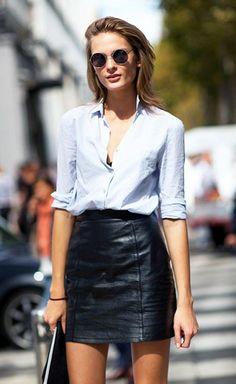 Saia de couro preta é essencial no guarda-roupa de uma parisiense
