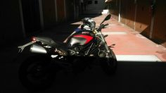 Ducati Monster 696 Black&Red Urban Setting Motorbike Ready for the weekend!