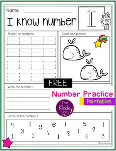 There are 3 printable pages of number practice in this packet. Students use a variety of skills with each practice page. They will learn to count, identify, trace and write numbers. This packet is perfect for kindergarten students who are learning numbers. Free Math | Morning Work | Homework First Grade Freebies, Kindergarten Freebies, First Grade Math, Teaching Kindergarten, High School Classroom, 2nd Grade Classroom, Elementary Teacher, Elementary Schools, School Resources