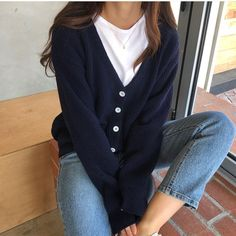 Navy, white, light wash denim - Navy, white, light wash denim Source by - Korean Outfits, Trendy Outfits, Winter Outfits, Cute Outfits, Fashion Outfits, Denim Outfits, Fashion Tips, Look Fashion, Korean Fashion