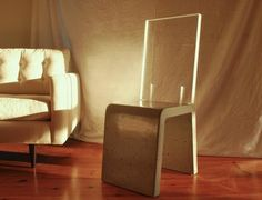 love the combination of of concrete and acrylic on this chair! #Concrete #Acrylic #Chair #Lucite