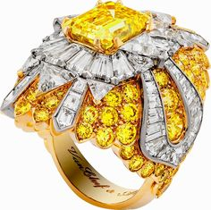 """Shine on this season with Van Cleef & Arpels' one-of-a-kind """"Beaute Celeste"""" ring featuring 4.05-carat emerald-cut fancy vivid yellow diamond and white and yellow diamonds set in 18K white and yellow gold! More eye candy here: http://balharbourshops.com/fashion/limited-edition/"""