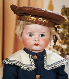 View Catalog Item - Theriault's Antique Doll Auctions French Bisque Pouting Character,252,by SFBJ with Original Toddler Body