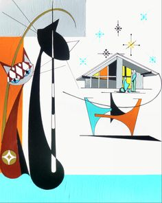 Mid Century Modern Christmas Cat Print Giclee by COLBYandFRIENDS, $40.00