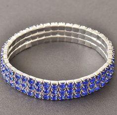 3 Rows Blue Sapphire 14.19 Carats 10k White Gold Filled Cuff Bangle Womens #Bangle