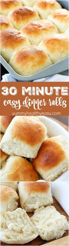 Easy Dinner Rolls that take only 30 minutes to make! This recipe produces a small batch of 15 rolls, making it perfect for a quick side dish any night of the week! Plus 20 more delicious bread recipes you wont want to miss holiday baking recipes Tasty Bread Recipe, Biscuit Recipe, Easy Bread Roll Recipe, Quick Bread Recipes, Yummy Recipes, Quick Side Dishes, Side Dishes For Chicken, Baking Recipes, Food And Drink