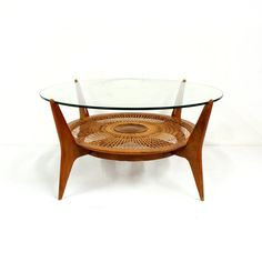 Mid Century Modern Woven Reed Glass Top by TheModernHistoric,