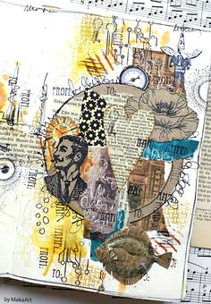 My journey through the scrapbookworld: time factory collage art Mixed Media Journal, Mixed Media Collage, Collage Art, Doodle Art Journals, Art Journal Pages, Junk Journal, Collages, Gesso Art, Newspaper Art
