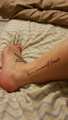 Ankle tattoo , love yourself first , girl tattoos bone tattoos, ankle tatto Small Black Tattoos, Small Couple Tattoos, Small Tattoos With Meaning, Small Tattoos For Guys, Small Wrist Tattoos, Ankle Tattoos, Bone Tattoos, Finger Tattoos, Girl Tattoos