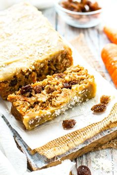 """Super Moist Vegan Carrot Cake Loaf is topped with a vegan """"cream cheese"""" frosting for a healthy Easter or Spring breakfast, snack or dessert."""