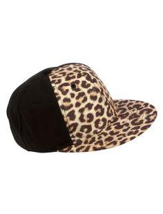 New Look - Chocolate Leopard Print Flat Peak Cap