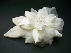 Antique White Couture Camellia Bridal Dress Pin Wedding Accessory with Champagne Leaves and Swarovski Crystals Stylish Camellia bloom custom.